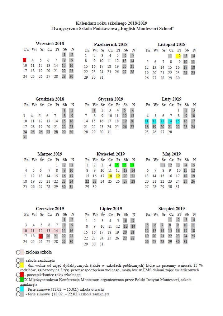 Kalendarz Szkolny Englishmontessorischool